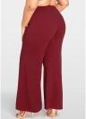 Women Plus Size Wide Leg Pants Bolsos Solid Flare Calças Calças