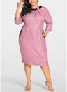 Women Plus Size Dress Solid Geometry Elegant Slim Midi Dress Bodycon Dress
