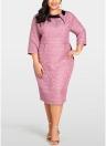 Abito da donna Plus Size Abito in Geometria Solido Abito elegante aderente in Midi Dress