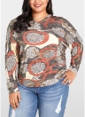 Damen Plus Size Bluse Geometric Print Fledermaus Long Sleeves O-Ausschnitt lose Top
