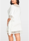 Femmes Plus la Taille lâche Dress Mesh Splice Drawstring Casual Midi Robes