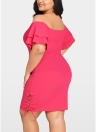 Women Plus Size Dress Off the Shoulder Layer Sleeve Lace Up Elegant Slim Dress