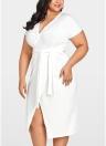 Women Cross Over Tie Waist Dress Plus Size Party Club Midi Dress