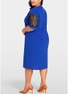 Plus Size Splice Color Lace O Neck Short Sleeve Dress