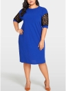 Plus Size Splice Color Lace O Neck Vestido de manga curta