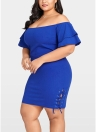 Plus Size Solid Off the Shoulder Layer Sleeve Lace Up Dress
