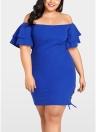 Plus la taille solide sur la robe à manches