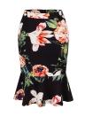 Floral Plaid Print High Waist Slim Bodycon Ruffled Mermaid Skirt