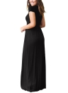 Femmes Maxi Long Dress Manches courtes O-Neck Pockets Soirée A-Line Robes