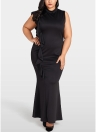 Plus Size Ruffle Side Stand Collar Sleeveless Bodycon Mini Dress