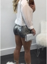 Femmes Bodycon Paillettes Shorts Élastique Taille Poches Casual Slim Shorts