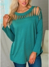 Women T-Shirt Hollow Out Long Sleeves Irregular Hem O-Neck Solid  Blouse Pullover