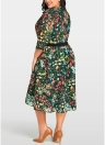 Women Plus Size Chiffon Dress Floral Print Midi Dress