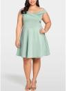 Vestido de tamanho grande feminino Slash Neck V Back High Waist Party Dress