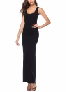 Long Scoop Neck Solid Color Beach Sleeveless Maxi Dress