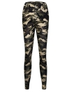 Women Camouflage Print Pencil Pants Mid Waist Pockets Leggings Trousers