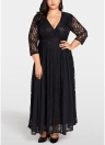 Women Plus Size Dress Solid Lace Chiffon Maxi Gown Elegant Party Wear