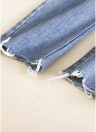 Femme Jeans Cropped Hem effiloché Straight Button Zipper Fly