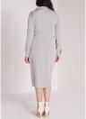 Plus Size Turn-down Collar Long Sleeve Solid Midi Dress
