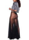 Sheer Mesh Plated Strappy Sleeveless Party Club Maxi Dress