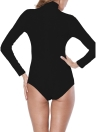 Frauen Bodysuit High Neck Langarm Ribbed Tights Bodycon Jumpsuit Strampler