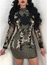 Sexy Femmes Paillettes Robe Contraste Couleur Dos Nu Moulante Mini Robe de Soirée