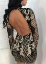 Sexy Women Sequins Dress Contrast Color Backless  Bodycon Mini Party Dress