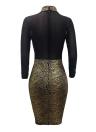 Robe de Sequin Metallic Sequin en maille métallisée pour femmes