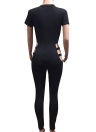 Mulheres Jumpsuit Bandage Cutout manga curta Solid Rompers Bodycon Bodysuit Body Catsuit