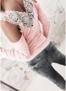Women Blouse Lace Splice Cold Shoulder  Slim Casual T-Shirt Tee Tops