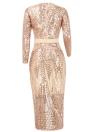 Mulheres Sequined Bodycon Vestido Sheer Mesh Front Fit Bandage Party Dress Clubwear