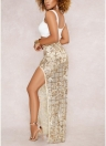 Mulheres Sheer Mesh Sequined Saia Side Split Back Zipper Maxi Skirt Clubwear