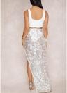 Женщины Sheer Mesh Sequined юбка Side Split Back Zipper Maxi Skirt Clubwear