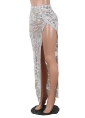 Women Sheer Mesh Sequined Skirt Side Split Back Zipper  Maxi Skirt Clubwear