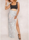 Femmes Sheer Mesh paillettes jupe côté Split Back Zipper Maxi Jupe Clubwear