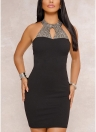 Halter Rhinestone Backless Elegant Bodycon Dress