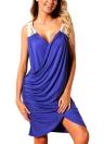 Summer Women Cross Beach Dress Deep V Neck Asymmetric Casual Tunic Dress