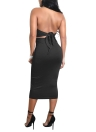 Женщины Midi Dress Crisscross Halter Bandage Backless Solid Slim Bodycon Dress Clubwear