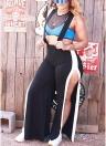 Slim Overalls Half Sleeves High Split Wide Legs  Dungarees Rompers