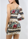 One Shoulder Floral Print Party Evening Mini Slim Dresses