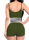 Women Two Piece Suit Fitness Stretch Stripe Tank Tops + Shorts  Bodycon Sets