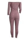 Femmes hors de l'épaule Combinaison côtelée Knit Drawstring Cutout manches longues poches Jumpsuit