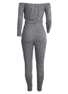 Frauen aus der Schulter Jumpsuit gerippt stricken Kordelzug Ausschnitt Langarm Taschen Jumpsuit