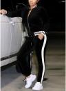 Femmes Velours Deux-pièces Blouse Pantalon Stripes Zipper Sport Top Pantalons