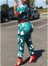 Leaf Print Sequins Half Sleeves Pockets T-shirt Pants Set