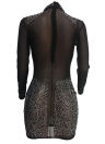 Mulheres Mesh Sheer Dress Rhinestones Long Sleeves Night Club Party Dress