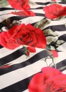 Conjunto de falda larga para mujer con estampado floral a rayas y acampanado Vestido acampanado de dos piezas