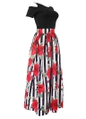 Women Long Skirt Set Striped Floral Print  T-shirt Flared Dress Two Pieces