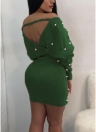 Off the Shoulder Backless Pearl Beading Bodycon Dress