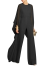 Chiffon Batwing Bell Sleeves High Waist Wide Legs Jumpsuit